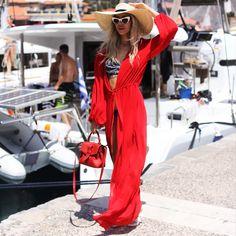 Summer long red dress