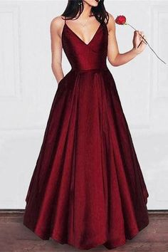 Simple Satin Prom Dress,long Burgundy Prom Dresses With Pocket,Dark Red Spaghetti Straps Evening Dresses,cheap Prom Party Gowns Red Satin Prom Dress, Satin Dresses, Maroon Prom Dress, Burgundy Prom Dresses, Sexy Dresses, Long Dresses, Long Dress Formal, Summer Dresses, Dress Red