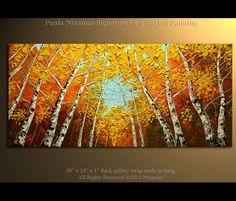 Birch Oil Painting Modern Oil Painting  Silver Birch by Nizamas, $380.00