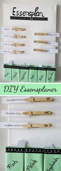 DIY Idee: Essensplaner selber machen + Video Anleitung Creative meal planner made by yourself Tinker food planner Diy Organizer, Diy Organization, Organizer Planner, Diy Crafts To Do At Home, Fun Crafts, Diy Home Decor Rustic, Meal Planner, Planner Diy, Ideas Hogar