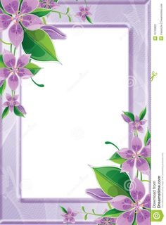 Purple Flower Borders and Frames | Stock Photography: Photo frame with purple flowers