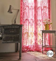 Janice Issitt Vintage Curtains | Part of her repurposed summer house, Janice dyed these lace curtains with Chalk Paint®, using a mix of Emperor's Silk and Henrietta.