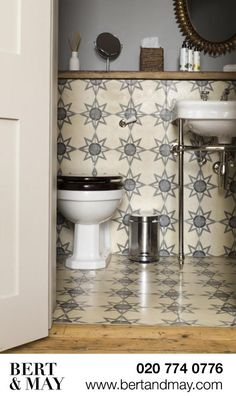 Home Decor 2018 Grey and White Star Motif Handmade Tiles from Bert & May.Home Decor 2018 Grey and White Star Motif Handmade Tiles from Bert & May Bathroom Renos, Small Bathroom, Bathrooms, Neutral Bathroom, Bathroom Ideas, Bert And May Tiles, Black Toilet Seats, Toilet Room, Downstairs Toilet