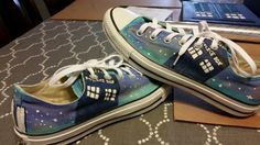 The Doctor Who shoes I made for my neice. Doctor Who Shoes, Vans Authentic, Me Too Shoes, Converse, Sneakers, Projects, Trainers, Women's Sneakers, All Star