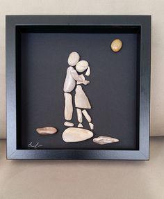 Items similar to Love wall art, Pebble art gift, Pebble decor, Pebble picture, Feelings on Etsy Stone Pictures Pebble Art, Stone Art, Stone Crafts, Rock Crafts, Beach Rock Art, Kids Art Galleries, Pebble Art Family, Love Wall Art, Rock And Pebbles