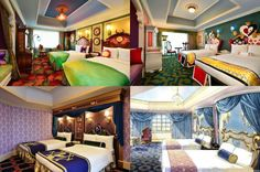 Tokyo Disneyland Hotel will have Disney character-themed rooms available for guests! Clockwise from top left: Tinkerbell's Neverland room; an Alice in Wonderland room; and Beauty & the Beast room Disneyland Hotel, Disneyland Tips, Cinderella Room, Alice In Wonderland Room, Disney Rooms, Disney House, Hotels, Casino Theme Parties, Backdrops For Parties