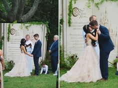 A seriously gorgeous fairy tale wedding complete with giant storybook back drop.