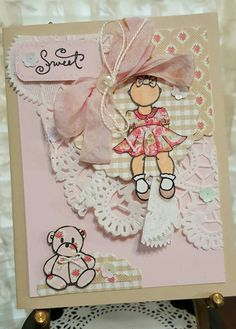 Handmade Baby Shower Card for that sweet baby girl! A Prima Julie Nutting doll.