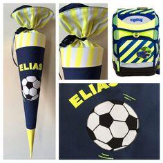 Schultüte aus Stoff Fußball Neon Neongelb, Fußballfeld und Ball
