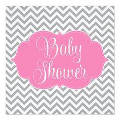 Modern Chevron Pink Gray Girl Baby Shower Invitation