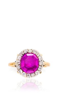 Antique Ruby and Diamond Cluster Ring by Simon Teakle for Preorder on Moda Operandi