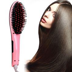 ACEVIVI Pink Digital Electric Hair Straightener Comb Heating Detangling Hair Brush EU/ US/ UK Plug