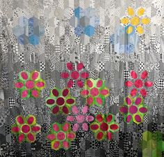 This is a full sized sample of a workshop I teach with easy machine sewing and and turned-edge fusible applique which eliminates the dreaded Y-seam. Life is too short for Y-seams! English Paper Piecing, Hand Quilting, Daisy, Applique, Workshop, Quilts, Sewing, Life, Hand Embroidery