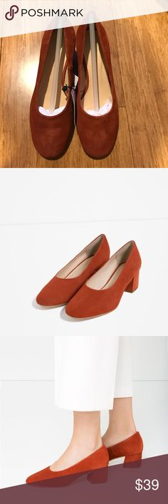 Zara suede flat. In real goat leather. Nice brick color. In size 6.5 (37). Fit true to size. New with tag. Zara Shoes Heels