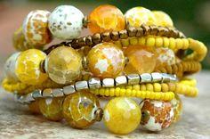 Bracelet   Yellow   Agate   Bronze   Chunky   Exotic   XO Gallery   XO Gallery