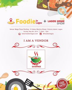 Meet the vendors:  If you don't want 'Mede mede' this is for you. Traditional Soups by @veggiespotwithdaminee  What to expect from Veggies Pot?  Afang soup with eba or semolinaAtama soup (Abak or Banga) with eba or semolinaAfia efere (white soup) with Poundo yamEkpang Nkukwo (Cocoyam based)Peppered snailsSmoothiesVegetables/Fruit juices  #FoodieinLagosFair #TheLagosHomeShow #TraditionalSoup