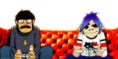 transparent 2D and Murdoc playing videogames on your blog.