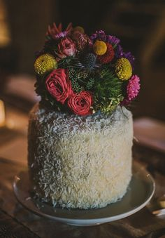 GENAEA + MIKEY // #wedding #ceremony #reception #dessert #cake #coconut #flowers #floral #bright #colourful #caketopper #foliage