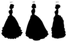 My version of a Victorian fashion timeline. It may not be correct but I think I got the basic dress shapes right. I also realize that the Victorian era ended in but 1902 fitted better wi. Victorian Design, Victorian Women, Victorian Era, Victorian Fashion, Victorian Dresses, Fashion Silhouette, Silhouette Clip Art, Woman Silhouette, Christmas Ghost