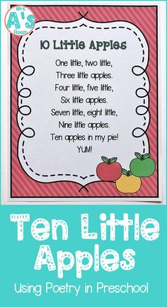 Poetry is a fantastic learning tool in preschool and kindergarten! Come learn how to use it in your classroom with this adorable counting poem that will fit right into your apple theme! - Kids education and learning acts Preschool Apple Theme, Preschool Music, Preschool Lesson Plans, Preschool Curriculum, Preschool Learning, In Kindergarten, September Preschool Themes, Preschool Apple Activities, Preschool Apples