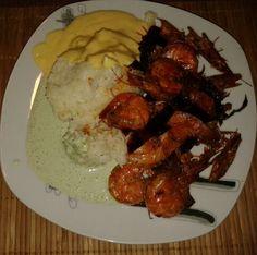 Camarones al ajillo,  con arroz y yogurt de mango y albahaca...mmmh!. Mexican food/Comida Mexicana