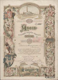 Muzeum cennych papiru A1176 Rolnický akciový cukrovar v Lounech / Landwirtschaftliche Aktienzuckerfabrik in Laun 1893