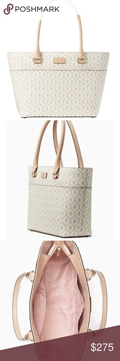 """Kate Spade Purse - Brand New! Kate Spade Purse - Brand New with Tags! Measurements are approximately 9.8""""h x 11.5""""w x 5.1""""d drop length: 8.3"""". Open top tote with zipper closure dual interior slide pockets and interior zipper pocket. Color is cream/cardamom! kate spade Bags Totes"""