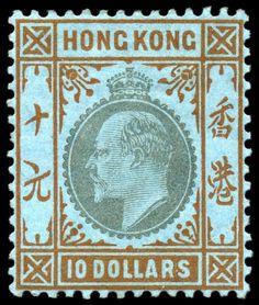 Hongkong 10 Dollar Edward VII Wz. 3, ungebr. Luxusstück mit Originalgummi, sehr seltene Marke, (SG 22, 1900 Pfd.) Lot condition * Dealer Jennes and...