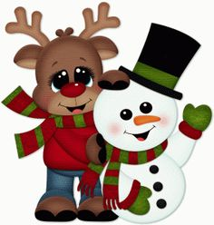 CHRISTMAS REINDEER AND SNOWMAN CLIP ART