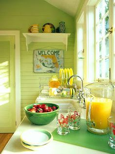 Green is my favorite kitchen color!!  vintage kitchen  love color-Jo at www.adorepurses.com