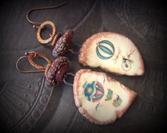 Ceramic, Unusual, Edwardian, Balloon, Whimsical, Artisan Clay, Lampwork Glass, Copper, Beaded Earrings