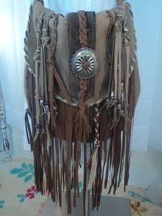 Large Handmade Brown Leather Boho Bag Fringe Cross Body Purse Western tmyers  #Handmade #MessengerCrossBody