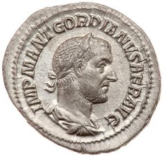 Gordian I Africanus. Silver Denarius (2.93 g), AD 238 EF Rome. IMP M ANT GORDIANVS AFR AVG, laureate, draped, and cuirassed bust of Gordian I right. P M T R P COS P P, emperor standing facing, head left, holding branch and parazonium. RIC 1; BMC 1-3; RSC 2. Well struck on a nice wide flan. Discontent with the rule of Maximinus I, who was viewed as a barbarian by Rome's elite and was generally hated otherwise due to heavy taxation to finance his military operations against the Germans and…