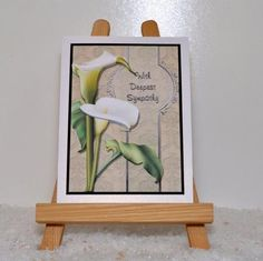 sympathy calla lilies card front on Craftsuprint designed by Michelle Johnson - made by Jackie Bullock - Design is printed onto best quality print medium I have used {{CUPcc21710 180gm light card}} The main design image is trimmed , matt