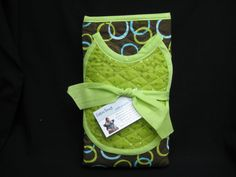 Cloth high chair in green, brown, teal