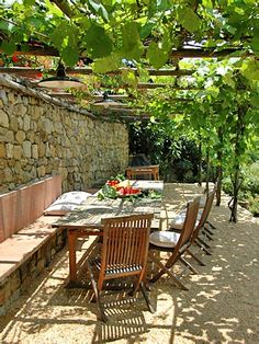 Casa Pepe, Tuscany, Italy I would love to grow grape vines on a pergola. So cool.