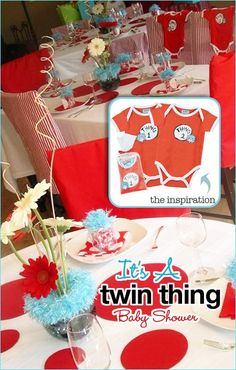 Twin Baby Shower - thing 1 and thing 2