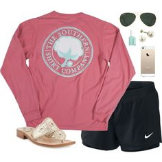 A fashion look from July 2016 featuring shirt top, Hollister Co. and buckle sandals. Browse and shop related looks. Cute Gym Outfits, Preppy Outfits, Preppy Style, Summer Outfits, My Style, Down South, Up Girl, Dress To Impress, Long Sleeve Shirts