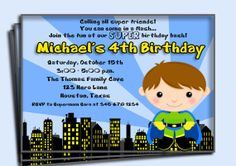 Superhero Birthday Invitation Printable - You Pick Hair Color/ Skin Tone and Outfit Color