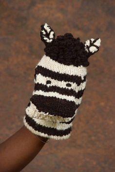 kiddies zebra glove puppets or hand puppets
