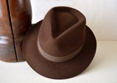 Etsy listing at https://www.etsy.com/listing/203346705/chocolate-brown-wool-felt-fedora-wide