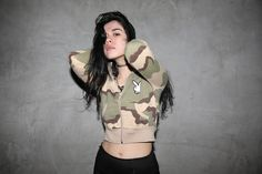 CROPPED CAMO PLAYBOY ZIP UP