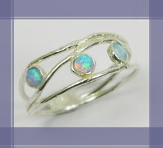 Chic opals sterling silver ring. birthday gift for her, romantic gift ideas, every day rings