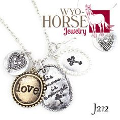 Wyo-Horse Jewelry - Love Charm Necklace with Matching Heart Earrings