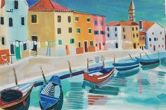 "- Jane Askey (@askeyjane) on Instagram: ""Burano Venice gouache painting. Wishing the sky was this blue today hope it is for you. #gouache…"""