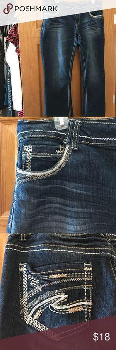 Dark Wash Jeans Dark Wash Jeans with decorative pockets twentyone black by rue21 Jeans Flare & Wide Leg