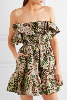 Philosophy di Lorenzo Serafini - Off-the-shoulder Floral-jacquard Mini Dress - Green - IT46