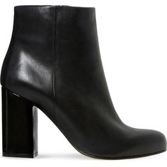 DUNE Oxbury leather heeled ankle boots (£65) ❤ liked on Polyvore featuring shoes, boots, ankle booties, high heel boots, block heel boots, side zipper boots, short boots and bootie boots