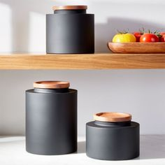 Clark Matte Black Canisters at Crate and Barrel Canada. Black Kitchens, Luxury Kitchens, Cool Kitchens, Retro Kitchens, Crate And Barrel, New Kitchen, Vintage Kitchen, Minimal Kitchen, Kitchen Tools