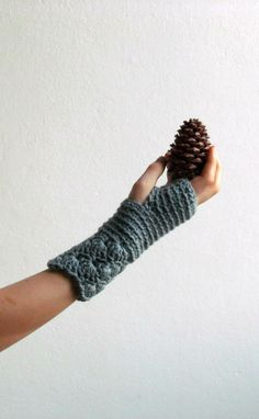 Fingerless gloves in grey green lacey driving by KnittingMamas
